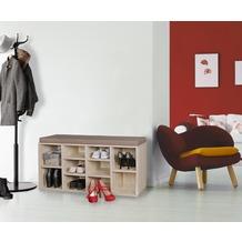 Wohnling Schuhbank mit Sitzauflage LAURA sonoma Flurbank 103,5 x 53 x 30 cm, Sitzbank mit Regalfächer, Garderobenbank mit Stauraum