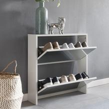 Wohnling Schuhkipper NIKLAS 2 Klappen Weiß mit Spiegel 63x67x17 cm Schuhschrank Holz, Schuhkommode geschlossen, Schuhregal hoch Kipper schmal, Schuhaufbewahrung verspiegelt, Design Flurmöbel Dielenmöbel Weiß