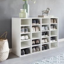 Wohnling Schuhregal DIEGO Holz Weiß 91 x 67 x 33 cm Ablage Hoch, Design Schuhständer Groß 20 Paar Schuhe