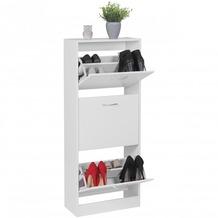 Wohnling Schuhschrank BELLA mit 3 Fächern zum Klappen Schuhkommode 125 cm Schuhregal für 18 Paar Schuhe Kommode Schuhkipper modern