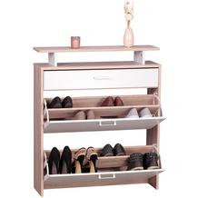 Wohnling Schuhschrank MDF Sonoma Eiche 80 cm Schuhregal Schuhkipper Design Schuh-Kommode modern Sideboard Schuhablage