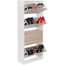 Wohnling Schuhschrank VERA mit 4 Fächern zum Klappen Schuhkommode 150 cm Schuhregal für 24 Paar Schuhe Kommode Schuhkipper modern