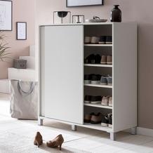 Wohnling Schuhschrank WL5.712 Holz Weiß 100x108x37,5 cm Ablage Hoch, Design Schuhständer Groß 20 Paar Schuhe
