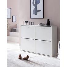 Wohnling Schuhschrank 120x81x24 cm Holz Schuhregal, 4 Fächer, Design Schuhkipper, in weiß