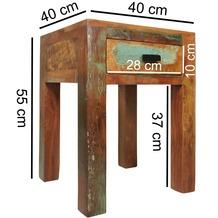 Wohnling Shabby-Chic Nachttisch KALKUTTA Nachtschrank Mango-Holz mit Schublade Bootsholz Design Nachtkästchen 40 x 40 x 55 cm Kleiner Beistelltisch Wohnzimmer