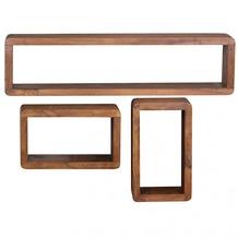 Wohnling Sheesham Massivholz 3er Set Wandregale Cubes
