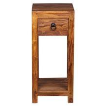 Wohnling Sheesham Massivholz Beistelltisch Telefontisch 30 x 30 x 65 cm mit Schublade