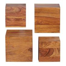 Wohnling Sheesham Massivholz Wandregal 4er Set Wandboard 25 cm und 20 cm Neu