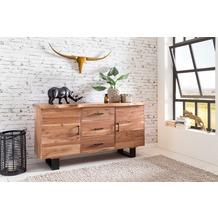 Wohnling Sideboard KADA 160x84x46 cm Massiv-Holz Akazie Natur Baumkante, mit Schubladen und Türen
