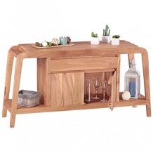 Wohnling Sideboard Massivholz Akazie Kommode 150 cm 1 Schublade und 1 Fach Design Highboard Landhaus-Stil braun natur