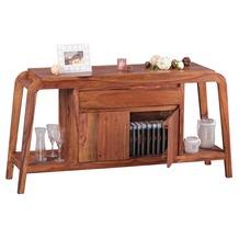 Wohnling Sideboard Massivholz Sheesham Kommode 150 cm 1 Schublade 1 Fach Design Highboard Landhaus-Stil braun natur