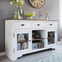 Wohnling Sideboard MAYLA mit 2 Türen 140 x 85 x 45 cm Weiß / Braun Holz Glas Kommode, Weiß