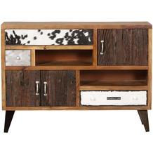 Wohnling Sideboard NEPAL 120x35x88 cm Massivholz Kommode mit 3 Schubladen, Industrie Design Anrichte mit Ablagefach, Highboard Massiv mit Türen Bunt Modern natur