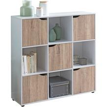 Wohnling Sideboard SAMO 89x91x29 cm Bücherregal mit 9 Fächern Sonoma, mit 5 Türen