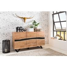 Wohnling Sideboard SATARA 148x85x43 cm Massiv-Holz Akazie Natur, mit Baumkante, im Landhaus-Stil