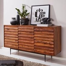 Wohnling Sideboard WL5.635 Sheesham Massivholz 150x81x41 cm Landhaus Kommode, Design Anrichte Groß, braun