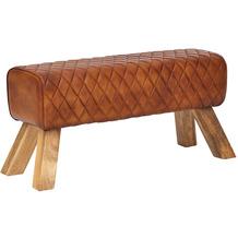 Wohnling Sitzbank Echtleder / Massivholz 89x46x35 cm Leder Modern Turnbock, Springbock Lederhocker Gepolstert