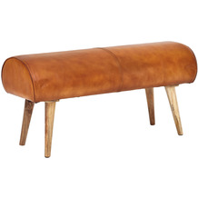Wohnling Sitzbank 100x53x40 cm Echtleder/Massivholz, braun, 2er Polsterbank, im Springbock Design
