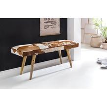 Wohnling Sitzbank innen aus echtem Ziegenfell Braun Weiß 120 x 40 x 52cm, Design Flurbank Deko