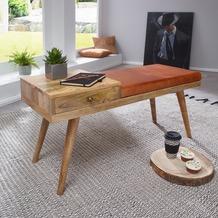 Wohnling Sitzbank SALIM Ziegenleder / Massivholz Bank 100x52x38 cm im Retro Stil mit Stauraum, braun