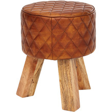 Wohnling Sitzhocker Echtleder / Massivholz 35x46x35 cm Modern Fußhocker Rund | Turnbock Lederhocker Braun | Kleiner Hocker Gepolstert | Holzhocker mit Leder-Bezug