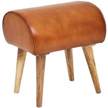 Wohnling Sitzhocker Echtleder / Massivholz 45 x 53 x 40 cm Moderner Lederhocker | Kleiner Holzhocker Gepolstert | Turnbock Hocker mit Leder-Bezug