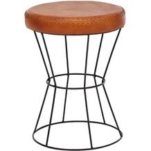 Wohnling Sitzhocker 35x48x35 cm Echtleder / Metall Design Hocker Rund, mit Leder-Bezug, gepolstert