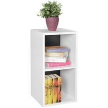 Wohnling Standregal KLARA weiß / Rückwand schwarz für Bücher 2 Fächer MDF-Holz, Design Aufbewahrungsregal
