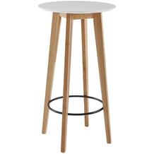 Wohnling Stehtisch 60x110x60 cm Weiß Rund, Bartisch für 4 Personen, Moderner Tisch für Bar, Design Partytisch Holz, Hochtisch Eiche Skandinavisch
