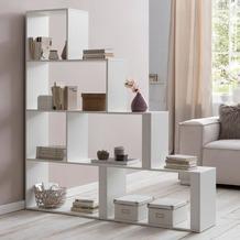 Wohnling Stufenregal Modern WL5.873 Weiß 155 x 162,5 x 29 cm Holz Treppenregal