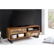 Wohnling TV Lowboard PATNA 120 x 47 x 40 cm Massiv Holz HiFi Regal Mango Natur | Landhaus-Stil Fernseher Kommode mit Schubladen | TV Board Fernsehschrank