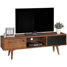 Wohnling TV Lowboard REPA 140 cm Massiv-Holz Sheesham Landhaus 2 Türen & Fach, HiFi Regal braun / schwarz