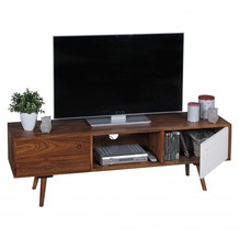 Wohnling TV Lowboard REPA 140 cm Massiv-Holz Sheesham Landhaus 2 Türen & Fach, HiFi Regal braun / weiß 4 Füße