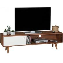 Wohnling TV Lowboard REPA Sheesham Massivholz mit 1 Tür 140 x 40 x 35 cm | TV Hifi Regal im Retro-Design | Fernsehschrank TV-Board in dunkelbraun / weiß
