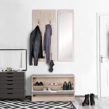 Wohnling Wand-Garderobe JANA mit Spiegel & Schuhschrank Spanplatte sonoma, Komplettgarderobe