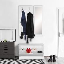 Wohnling Wand-Garderobe JANA mit Spiegel & Schuhschrank Spanplatte weiß, Komplettgarderobe