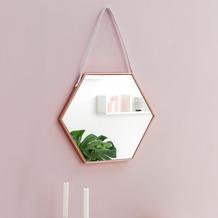 Wohnling Wandspiegel WL5.774 48x57x4 cm Spiegel mit Rahmen Kupfer Flurspiegel Sechseckig, Hängespiegel Flur zum Aufhängen Groß, Garderobenspiegel Wand Modern, Dekospiegel Wohnzimmer Schlafzimmer  kupfer