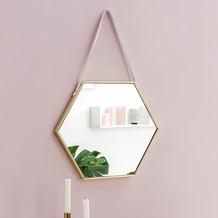 Wohnling Wandspiegel WL5.775 48x57x4 cm Spiegel mit Rahmen Gold Flurspiegel Sechseckig, Hängespiegel Flur zum Aufhängen Groß, Garderobenspiegel Wand Modern, Dekospiegel Wohnzimmer Schlafzimmer  gold