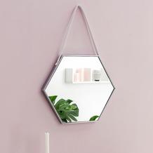Wohnling Wandspiegel WL5.776 48x57x4 cm Spiegel mit Rahmen Silber Flurspiegel Sechseckig, Hängespiegel Flur zum Aufhängen Groß, Garderobenspiegel Wand Modern, Dekospiegel Wohnzimmer Schlafzimmer  silber