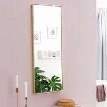 Wohnling Wandspiegel WL5.781 Gold 36 x 100 x 4 cm Spiegel Modern Rahmen Groß, Hängespiegel Schlafzimmer Rechteckig, Garderobenspiegel Flur zum Aufhängen Eckig, Design Dekospiegel Wand Wohnzimmer  gold