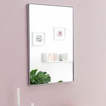 Wohnling Wandspiegel WL5.782 Silber 50 x 80 x 4 cm Spiegel Modern Rahmen Groß, Hängespiegel Schlafzimmer Rechteckig, Garderobenspiegel Flur zum Aufhängen Eckig, Design Dekospiegel Wand Wohnzimmer  silber