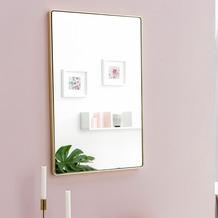 Wohnling Wandspiegel WL5.783 Gold 50 x 80 x 4 cm Spiegel Modern Rahmen Groß, Hängespiegel Schlafzimmer Rechteckig, Garderobenspiegel Flur zum Aufhängen Eckig, Design Dekospiegel Wand Wohnzimmer gold