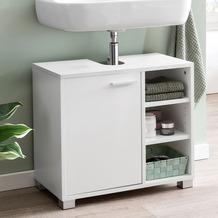 Wohnling Waschbeckenunterschrank WL5.341 60x55x32cm Weiss Badschrank mit Tür, Holz Unterschrank Waschbecken