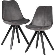 Wohnling Weiches Esszimmerstuhl 2er Set ohne Armlehnen in Dunkelgrau | Samt Küchenstühle Modern mit schwarzen Holzbeinen | Schalenstuhl Gepolstert 110 kg