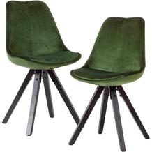 Wohnling Weiches Esszimmerstuhl 2er Set ohne Armlehnen in Grün | Samt Küchenstühle Modern mit schwarzen Holzbeinen | Schalenstuhl Gepolstert 110 kg