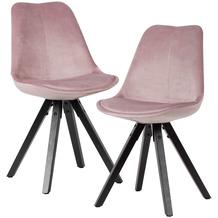 Wohnling Weiches Esszimmerstuhl 2er Set ohne Armlehnen Rosa schwarze Holzbeine Schalenstuhl Gepolstert 110 kg