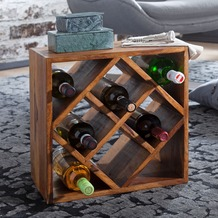 Wohnling Weinregal KANOI Sheesham Massivholz 40x40x25 cm Holzregal 8 Flaschen