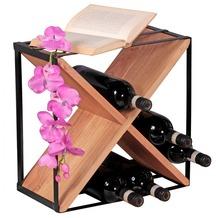Wohnling Weinregal Massiv-Holz Akazie Flaschenregal für ca. 16 Flaschen mit Metallrahmen Holzregal X-Form