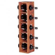 Wohnling Weinregal Massiv-Holz Sheesham Flaschen-Regal Wandmontage für 5 Flaschen Holzregal modern mit Ablage 70 cm