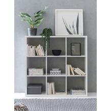 Wohnling Würfelregal EDDIE 112x29x112 cm Bücherregal mit 9 Fächern Weiß Standregal Holz Regal freistehend